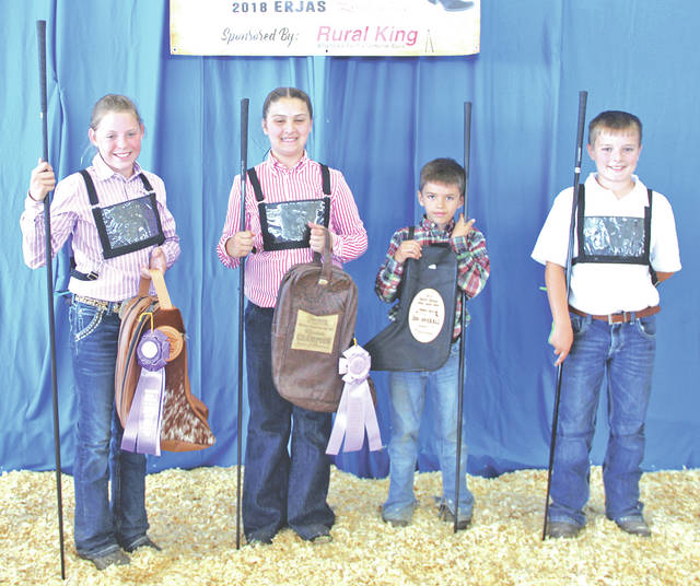 These young Angus enthusiasts won top honors in junior A showmanship at the 2018 Eastern Regional Junior Angus Show, June 15-16 in Lima. Pictured, from left, are Carly Sanders, Leesburg, first place; Maggie Davis, Bidwell, second place; William Miller, Gridley, Ill., third place; and Caden Crain, Mounds, Ill., fourth place.