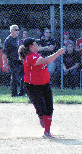 Kaiti White pitches against Piketon in a Sectional Tournament Semi-Final at Fairfield High School. White was named to the OHSFSCA All-State Second Team in Division II. White has been an integral part of the Lady Lions' most recent string of success.