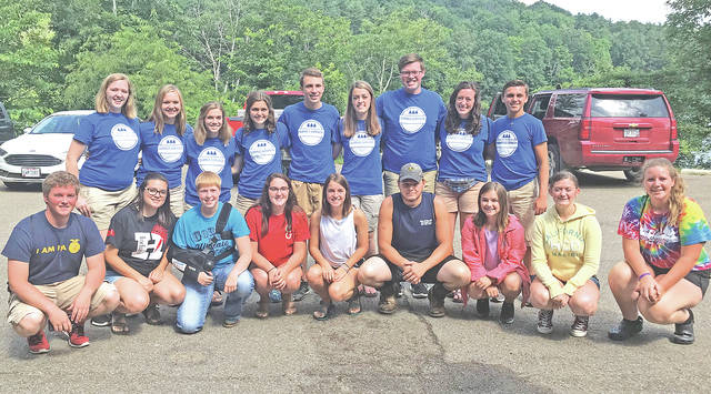 Members who attended Ohio Leadership Camp are pictured with the state officer team: (front row, l-r) Joe Helterbrand, Lexey Hetzel, Lana Grover, Heather Burba, Jordan Williamson, Michael Rose, Kirsten Harp, Alora Brown and Haley Hughes (back row,l-r) Grace Lach, Kalyn Strahley, Emma Dearth, Mallory Caudill, Koleson McCoy, Gretchen Lee, Grant Lach, Holly McClay and Austin Becker.