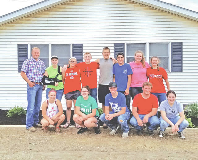 Pictured are Hillsboro FFA members along with the UPI-Hillsboro facility manager (front row, l-r) Kirsten Harp, Heather Burba, Gavin Puckett, Joe Helterbrand and Loraleigh Mayhan; (back row, l-r) UPI-Hillsboro Facility Manager Ben Wheeler, Lana Grover, Lexey Hetzel, Lawton Parry, Rhen Williamson, Riley Burba, Haley Hughes and Alora Brown. Not pictured is Brennen Priest.