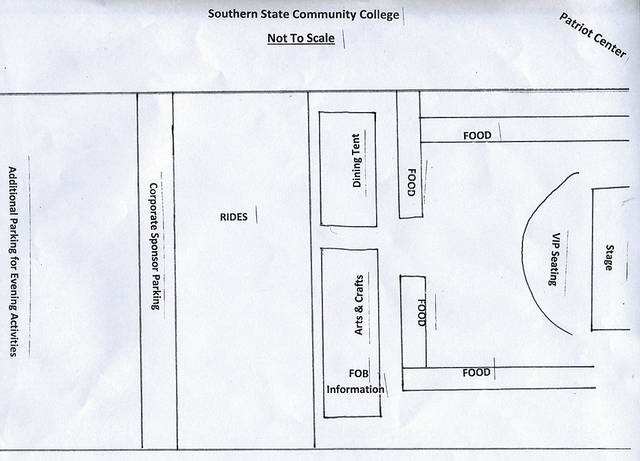 This drawing shows the layout for the 2018 Festival of the Bells that will be held Thursday through Saturday at Southern State Community College in Hillsboro.