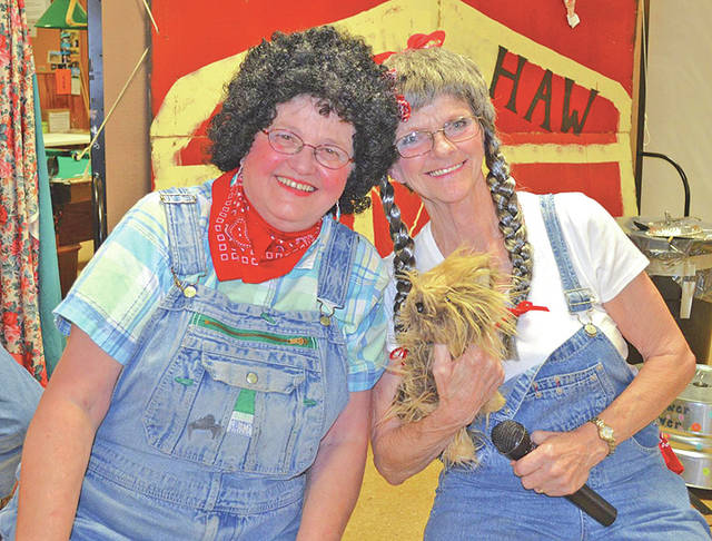 About 90 tickets are still available for the Saturday, July 28 Hee Haw Show put on annual by the members and staff at the Highland County Senior Citizens Center in Hillsboro. Doors open at 5:30 p.m. and the show starts at 6:30 p.m. Tickets are $10 for the show, or for an additional $5 a meal of ham loaf, slaw, chips and tea can be purchased. The meal can be served before the show or during an intermission in the middle of the show. Tickets are available online at HighlandSeniors.com or at the senior center from 8 a.m. to 4 p.m. Monday through Friday. Pictured are past Hee Haw Show cast members Gerri Pierson and Judy McCray.