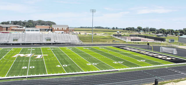The new football field turf at Miami Trace High School is nearly complete. Above is a look at the south half of the field on Thursday, July 12, 2018. Work continues on the new high school in the background and the entrance to the new school. There is a girls' soccer scrimmage at home on Monday, Aug. 6 at 5 p.m. and a varsity football scrimmage will be held on Saturday, Aug. 11 vs. Waverly at 10 a.m. There will be a jamboree football game Friday, Aug. 17 at 7 p.m. on the new field against Westfall. There will be a boys' varsity soccer match on the new field Tuesday, Aug. 21 at 5 p.m., followed by the first girls' soccer game on the field at 6:45 p.m. on the 21st. The opponent that evening is Circleville. The first varsity football game on the new field will be the season-opener Friday, Aug. 24 at 7 p.m. against Circleville.