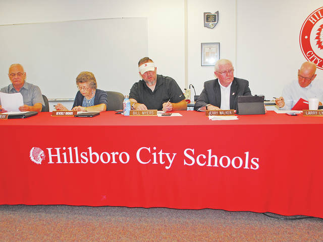 Hillsboro City Schools Board of Education members are pictured at Monday's monthly meeting, from left, Tom Milbery, Beverly Rhoads, Bill Myers, Jerry Walker and Larry Lyons.