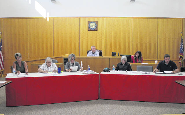 Shown from left in the foreground are council members Mary Stanforth, Claudia Klein, Ann Morris, Wendy Culbreath and Adam Wilkin. Shown in the background, from left, are council President Lee Koogler and Clerk Heather Collins.