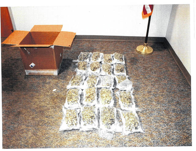 Shown are 20 bags of marijuana that authorities believe were shipped from Nevada to a residence in Highland County.