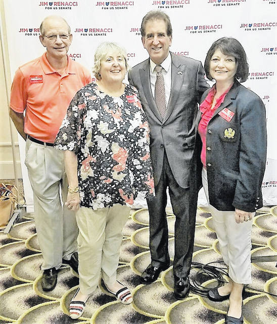 Three Highland County Republicans attended U.S. Senate candidate Jim Renacci's press conference Tuesday. From left, Dick Donley, Shawn Priest, Renacci and Paulette Donley.