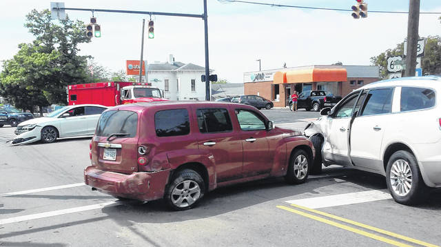 No one sustained serious injury following a three-vehicle crash in Hillsboro Friday afternoon. The accident occurred at about 12:30 p.m. at the intersection of North High Street and Collins Avenue. Officials said a maroon 2007 Chevrolet HHR driven by Samuel Risley, Hillsboro, was northbound on North High Street near Collins Avenue, when it ran a red light, striking a white Chrysler 200 sedan that entered the intersection from Collins Avenue. The force of the impact spun the HRR around and it collided with a 2011 White Buick Enclave in the southbound lane. Identification was not available for the other drivers. All three were treated and released at the scene. Risley was cited for failure to obey a traffic control device. Officers from the Hillsboro Police Department and EMTs from Paint Creek Joint Fire/EMS district responded.