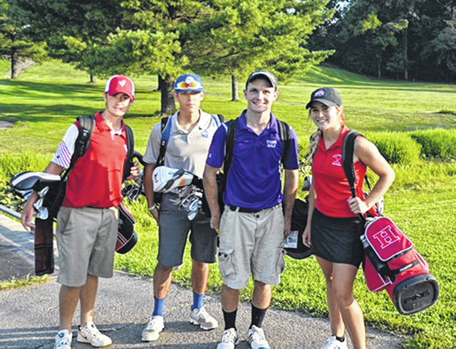 Players for all six FAC boys golf teams converged on Franklin Valley Golf Course on Tuesday to participate in the second FAC golf match of the season. Pictured (l-r) - Ehtan Mercer (Jackson), Tyler Rood (Washington), Trevor Newkirk (McClain) Kristin Jamieson (Hillsboro).
