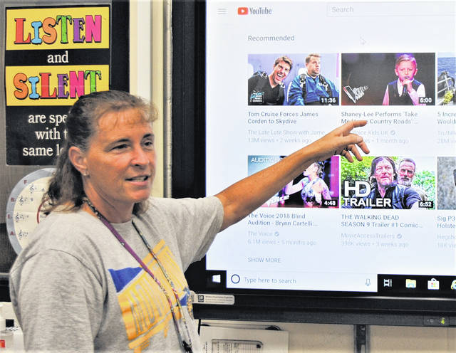 Whiteoak music teacher Michelle Gleim is at the LCD television in her band room, using YouTube to illustrate musical trends and influences.