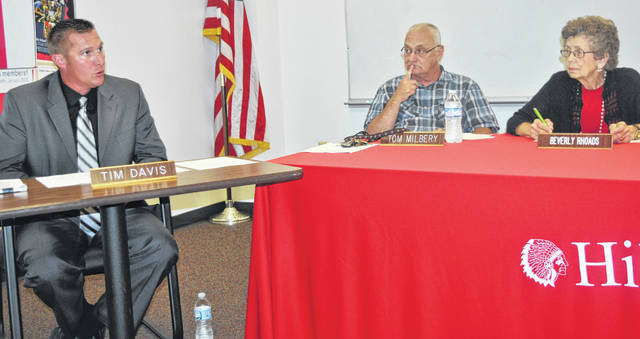Hillsboro Board of Education members Tom Milbery (center) and Beverly Rhoads (right) look on as Superintendent Tim Davis talks at Monday's board meeting.