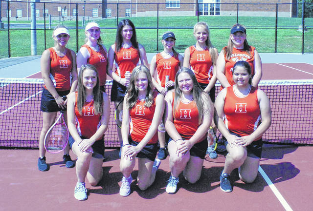 The Hillsboro Lady Indians Tennis team poses for a team photo at the Tennis courts on the campus of Hillsboro High School.