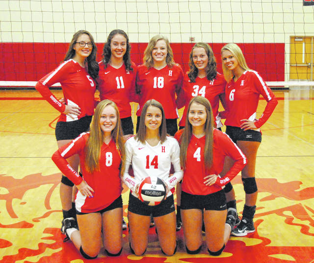 The Hillsboro Lady Indians varsity Volleyball team poses for a team photo at Hillsboro High School. Pictured back row (l-r): Hope Middleton, Sydney Bobbitt, Abby Brown, Kailey Dietrick and Paige Loudin. Front row (l-r): Julie Middleton, Jordan Williamson and Katie Condo.
