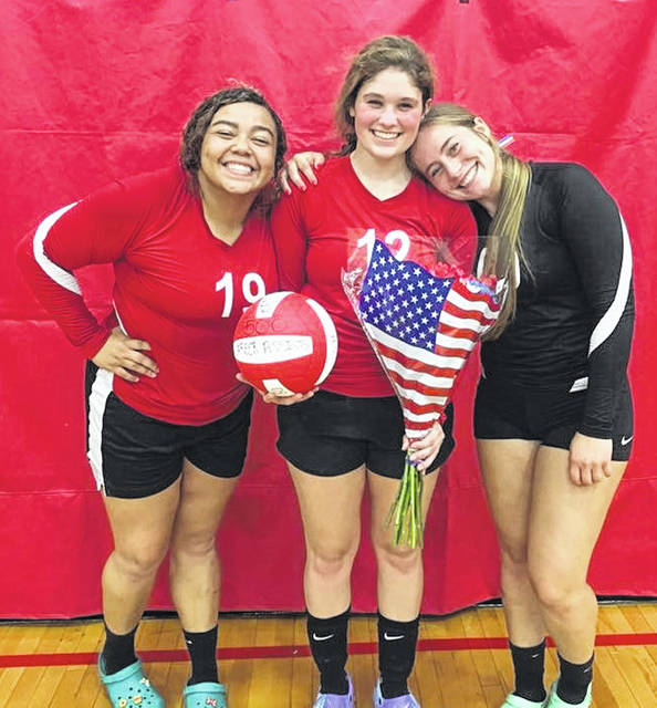 Kami Magee (middle) attained her 500th assist at the Spike and Dig Tournament in Hillsboro on August 18th. She was honored last night at our home volleyball game. Kami was presented a commemorative ball prior to the start of the varsity game. Kami is a senior at Fairfield and has played volleyball all four years. Kami is the daughter of Eric and Tonya Magee. The varsity team has accomplished several firsts already this season. The Lady Lions won the Spike and Dig Tourney. The Lady Lions also handed North Adams their first league loss in five years on Tuesday August 28.