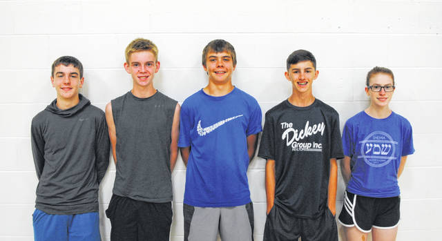 Members of the 2018 Lynchburg-Clay Cross Country team pose for a team photo at Lynchburg-Clay Middle School. Pictured (l-r): Cole Parker, Dawson Osborne, Austin Leininger, Austin Barnhill and Maelynn Quigley. Not pictured: Casey Barger, Samantha Kirby and Raelynn Ruble.