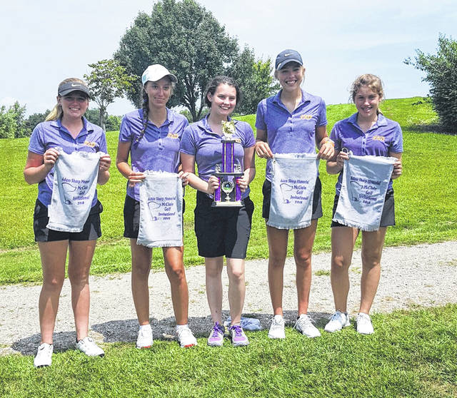 The McClain Girls Golf team placed second at the Adam Sharp Memorial on Tuesday at Buckeye Hills Country Club. Pictured (l-r): Bri Weller, Erika Martin, Cassidy Willis, Bryn Karnes and Shayna Beatty.