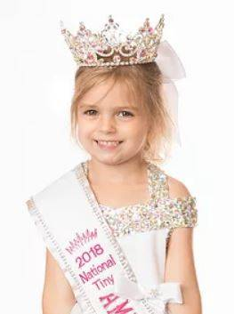 Three-year-old Larkin Dean of Fayetteville is the new 2018 National Tiny Princess in the American Royal Beauties pageant system. Dean also competed in the Cinderella pageant system this past year and won the Tiny Tot Overall title in the Dayton area prelim, the Miss Tiny Tot Personality title at the state competition and competed for the first time at the Cinderella International Pageant in Dallas, Texas at the end of July. Her parents are Hank and Jodelle Dean of Fayetteville; her grandparents are Hank and Esther Dean of New Vienna, David and Mona Crone of Mowrystown, and Lanny Stricklett of Manchester; and her great-grandparents are Carl and Doris Jean Crone of Lynchburg and Marlene Yarger of Mowrystown.
