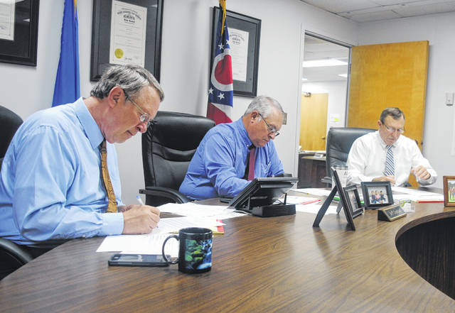 Shown, from left, are Highland County Commissioners Gary Abernathy, Jeff Duncan and Terry Britton.