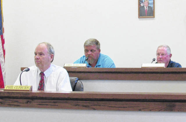 Pictured during a previous Greenfield Village Council meeting are (l-r) council members Phil Clyburn, Chris Borreson and Bob Bergstrom.