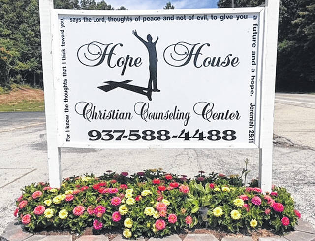 The sign in front of the Hope House Christian Counseling Center, located at 24 E. Water St., Sinking Spring, is shown in this photograph.