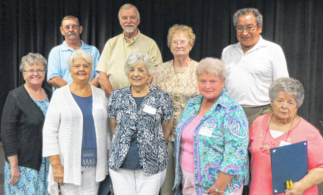 Outstanding Seniors named by their county senior center were recognized. Those in attendance included (front row, l-r) Gerri Pierson (Highland County), Donna McClure (Lawrence County/), Janice Bills (Lawrence County), Donna Plybon (Lawrence County) and Betty Kiogima (Lawrence County; (back row. l-r) John Crance (Lawrence County), Carl Murdock (Lawrence County), Lorene Plybon (Lawrence County) and Bob Kiogima (Lawrence County).
