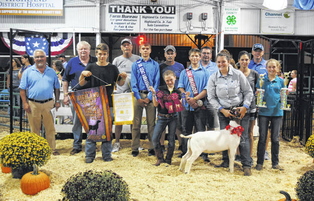 Claire Wilkin's Reserve Grand Champion Market Boer Goat sold for $23 per pound Wednesday night at the Highland County Fair. It was bought by Angles Mobile Home Service, NCB, Rock Cliff Acres, Seal Tite, Service Master, St. Clair Farms, Turner and Sons Funeral Home, VFW Post 9094, Ventura Feed and Country Store, Weastec Inc. and John D. Knauff for Commissioner.
