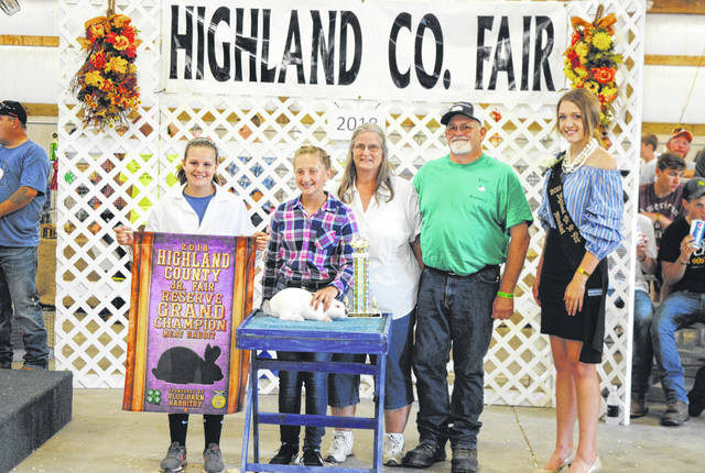 Sydney Hooper's Reserve Grand Champion and Division 3 Champion Rabbit sold for $550 Thursday at the Highland County Fair. It was purchased by Hidy Rabbitry.