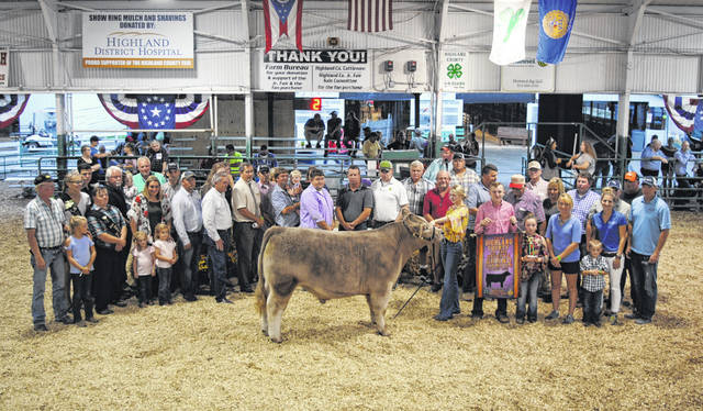 Larkyn Parry's Reserve Grand Champion Market Steer sold for $5.25 per pound Friday night at the Highland County Fair. The buyers were Bohrer Veterinary Services, Carr Farms and Pioneer Seed, Five Points Implement Company, Greystone Systems, Hamilton Insurance Agency, Hartley Oil Co., Jerry Haag Motors, Magulac Tire Service, Merchants National Bank Hillsboro, Morris & Son's Farm Equipment LLC, NCB, Parry Show Cattle, Rick Williams Auction Company, Rick's Hometown TV & Appliance Center, Shawn and Tom Dance Fencing & Excavating, Southern Hills Community Bank Leesburg, Sunrise Co-Op, The Wendt Group Auction Company, Union Stockyards, Vansaun Farms and Williams Farms Seed & Chemicals.